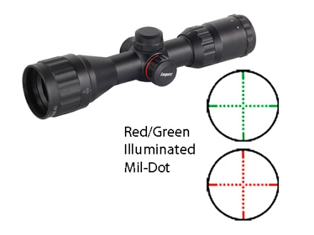 Leapers UTG TS Platform Bug Buster Mini Rifle Scope 3-9x 32mm Adjustable Objective Red and Green Illuminated Mil-Dot Reticle Matte