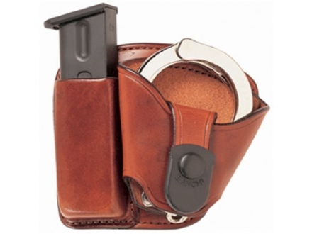 Bianchi 45 Magazine and Cuff Combo Paddle Glock 17, 19, 22, 23, S&W SW9F Leather Tan