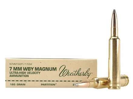 Weatherby Ammunition 7mm Weatherby Magnum 160 Grain Nosler Partition Box of 20