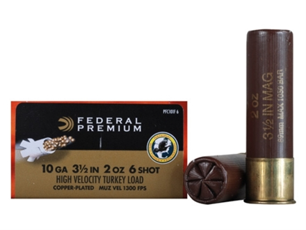 "Federal Premium Mag-Shok Turkey Ammunition 10 Gauge 3-1/2"" 2 oz #6 Copper Plated Shot High Velocity Box of 10"