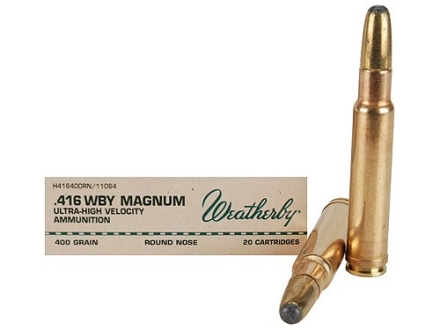 Weatherby Ammunition 416 Weatherby Magnum 400 Grain Hornady Round Nose Expanding Box of 20