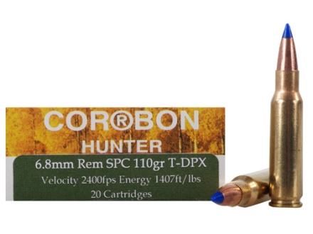 Cor-Bon DPX Hunter Ammunition 6.8mm Remington SPC 110 Grain Barnes Tipped Triple-Shock X Bullet Hollow Point Lead-Free Box of 20