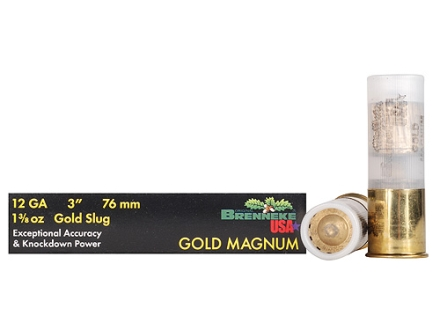 "Brenneke USA Gold Magnum Ammunition 12 Gauge 3"" 1-3/8 oz Lead Slug Box of 5"