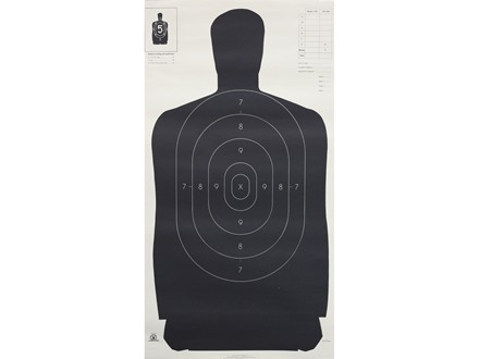 "NRA Official Silhouette Target B-27 (24"") 50 Yard Paper Black/White Package of 100"