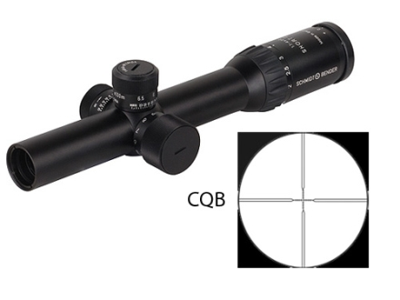 Schmidt & Bender Police Marksman II Short Dot Rifle Scope 30mm Tube 1.1-4x 20mm First Focal Illuminated CQB Reticle Matte