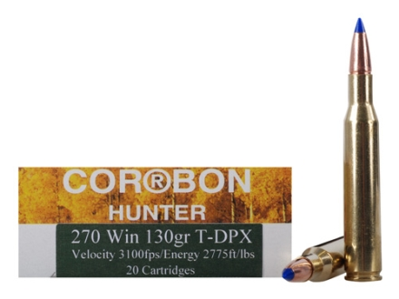 Cor-Bon DPX Hunter Ammunition 270 Winchester 130 Grain Barnes Tipped Triple-Shock X Bullet Lead-Free Box of 20