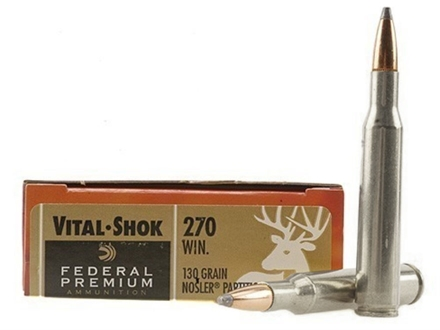 Federal Premium Vital-Shok Ammunition 270 Winchester 130 Grain Nosler Partition Box of 20