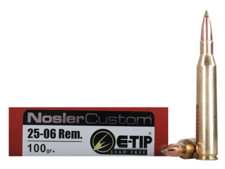 Nosler Trophy Grade Ammunition 25-06 Remington 100 Grain E-Tip Lead-Free Box of 20