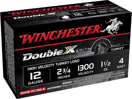 "Winchester Double X Turkey Ammunition 12 Gauge 2-3/4"" 1-1/2 oz #4 Copper Plated Shot Box of 10"