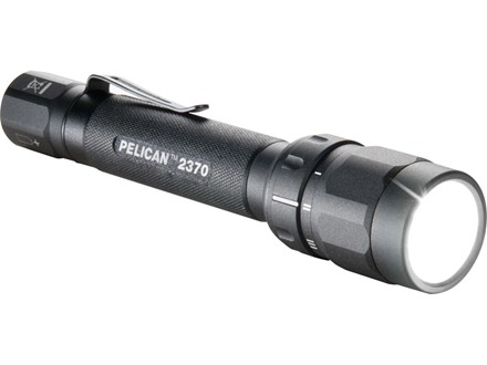 Pelican 2370 Flashlight LED (red, white, and blue)  with 2 AA Batteries Aluminum Black