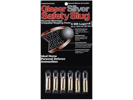 Glaser Silver Safety Slug Ammunition 9mm Luger +P 80 Grain Safety Slug Package of 6