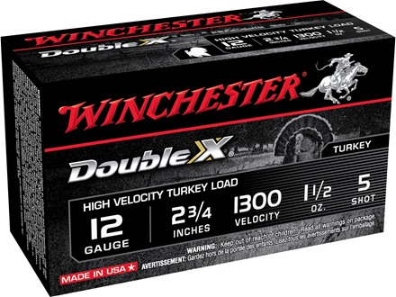 "Winchester Double X Turkey Ammunition 12 Gauge 2-3/4"" 1-1/2 oz #5 Copper Plated Shot Box of 10"