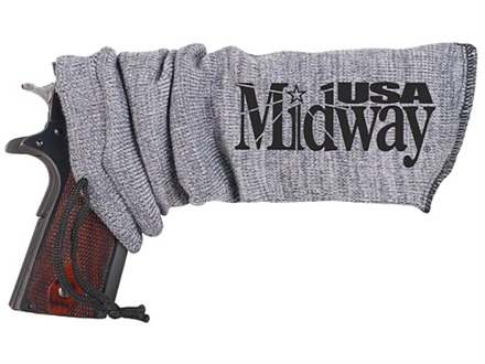 MidwayUSA Gun Sock Pistol Silicone-Treated Polyester Blend Gray with Black Logo 13-1/2""