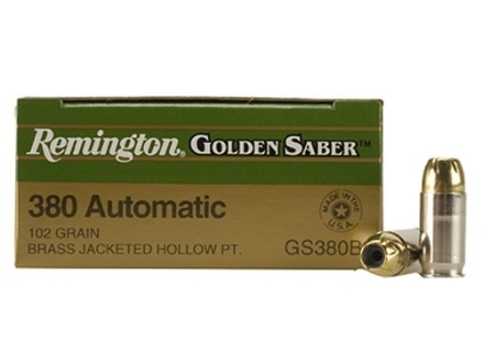 Remington Golden Saber Ammunition 380 ACP 102 Grain Brass Jacketed Hollow Point Box of 25