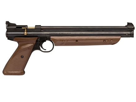 Crosman 1377C Bolt Action Pump Air Pistol 177 Caliber Pellet Black with Brown Polymer Grips