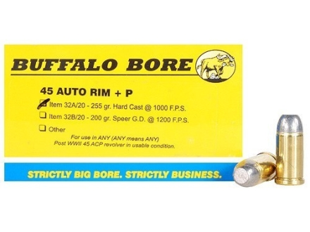 Buffalo Bore Ammunition 45 Auto Rim (Not ACP) +P 255 Grain Hardcast Flat Nose Box of 20