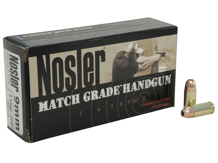 Nosler Match Grade Ammunition 9mm Luger 115 Grain Jacketed Hollow Point Box of 50