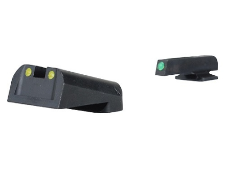 TRUGLO TFO Sight Set 1911 Kimber Front and Rear Sight Cuts Steel Tritium / Fiber Optic Green Front, Yellow Rear