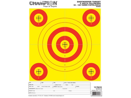 "Champion ShotKeeper 5 Small Bullseye Targets 8.5"" x 11"" Paper Yellow/Red Bull Package of 12"