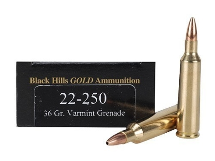 Black Hills Gold Ammunition 22-250 Remington 36 Grain Barnes Varmint Grenade Hollow Point Flat Base Lead-Free Box of 20