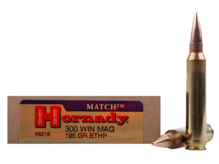 Hornady Match Ammunition 300 Winchester Magnum 195 Grain Boat Tail Hollow Point Box of 20