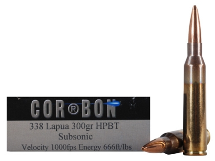 Cor-Bon Performance Match Ammunition 338 Lapua Magnum 300 Grain Hollow Point Boat Tail Subsonic Box of 20