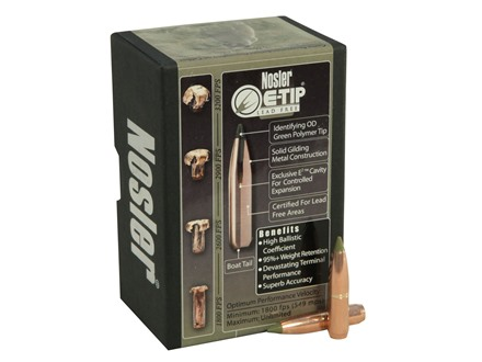 Nosler E-Tip Bullets 264 Caliber, 6.5mm (264 Diameter) 120 Grain Spitzer Boat Tail Lead-Free Box of 50