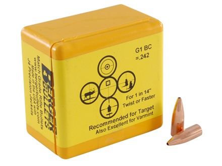 Berger Target Bullets 22 Caliber (224 Diameter) 52 Grain Hollow Point Flat Base
