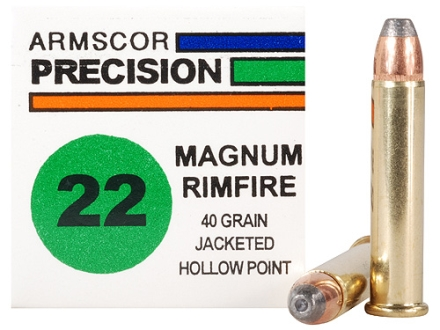 Armscor Ammunition 22 Winchester Magnum Rimfire (WMR) 40 Grain Jacketed Hollow Point Box of 500 (10 Boxes of 50)