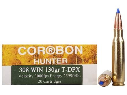 Cor-Bon DPX Hunter Ammunition 308 Winchester 130 Grain Barnes Tipped Triple-Shock X Bullet Lead-Free Box of 20