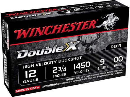 "Winchester Double X Magnum Ammunition 12 Gauge 2-3/4"" Buffered 00 Copper Plated Buckshot 9 Pellets"