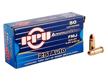 Prvi Partizan Ammunition 25 ACP 50 Grain Full Metal Jacket Box of 50