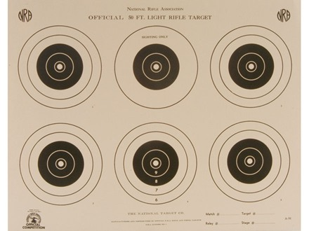 NRA Official Smallbore Rifle Target A-32 50' Light Rifle Paper Package of 100