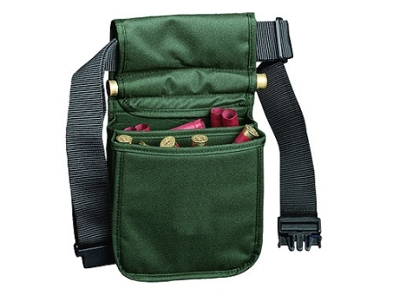 Bob Allen Deluxe Divided Shotgun Shell Pouch with Belt Nylon Green