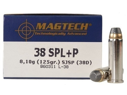 Magtech Sport Ammunition 38 Special +P 125 Grain Semi-Jacketed Soft Point Box of 50