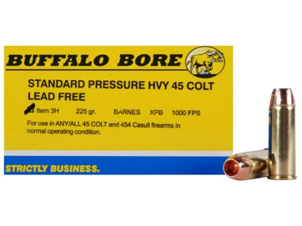 Buffalo Bore Ammunition 45 Colt (Long Colt) 225 Grain Barnes XPB Solid Copper Hollow Point Lead-Free Box 20
