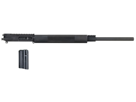 "Olympic Arms AR-15 A3 Flat-Top Upper Assembly 243 Winchester Super Short Magnum (WSSM) 1 in 10"" Twist 24"" Bull Barrel Stainless Steel Black with Free Float Handguard, 4-Round Magazine"