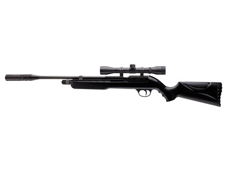 Umarex Fusion Air Rifle 177 Caliber Pellet Black Polymer Stock Blued Barrel with Airgun Scope 4x 32mm Matte