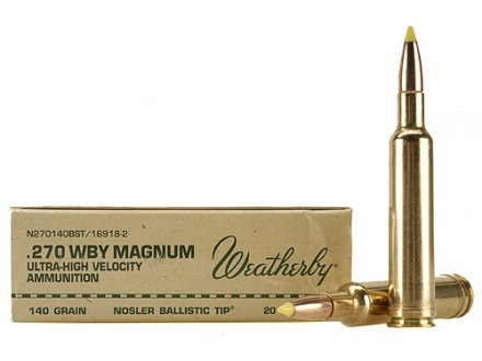 Weatherby Ammunition 270 Weatherby Magnum 140 Grain Nosler Ballistic Tip Box of 20
