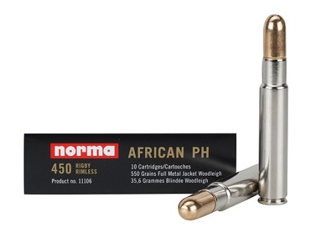 Norma African PH Ammunition 450 Rigby 550 Grain Woodleigh Full Metal Jacket Box of 10
