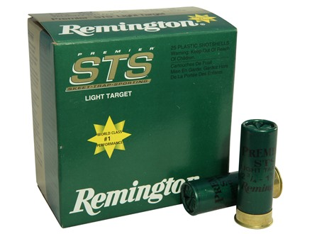 "Remington Premier STS Light Target Ammunition 12 Gauge 2-3/4"" 1-1/8 oz #9 Shot"