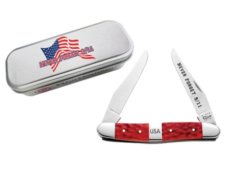 Case 91106 9/11 Commemorative Muskrat Folding Pocket Knife 2 Blade Clip Point Surigical Steel Blades Red Bone Handle Red