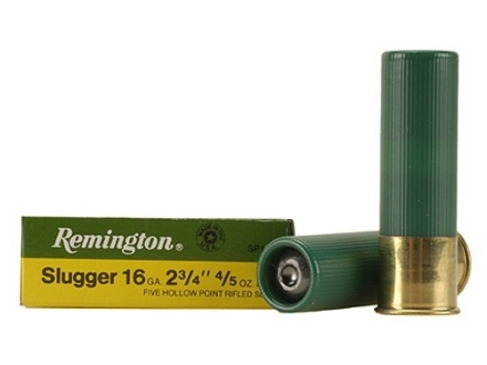 "Remington Slugger Ammunition 16 Gauge 2-3/4"" 4/5 oz Rifled Slug Box of 5"