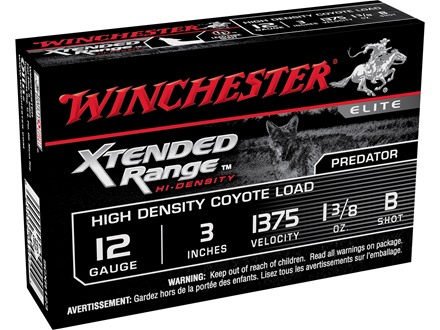 "Winchester Xtended Range Hi-Density Coyote Ammunition 12 Gauge 3"" 1-3/8 oz B Shot Lead-Free Box of 5"