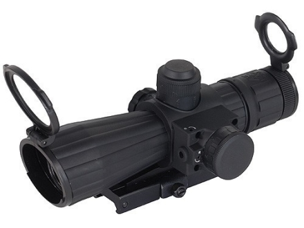 NcStar Mark 3 Tactical Rifle Scope 4x 32mm Blue Illuminated P4 Sniper Reticle Matte with Red Laser and Quick Release Weaver-Style Base Rubber Armored Matte