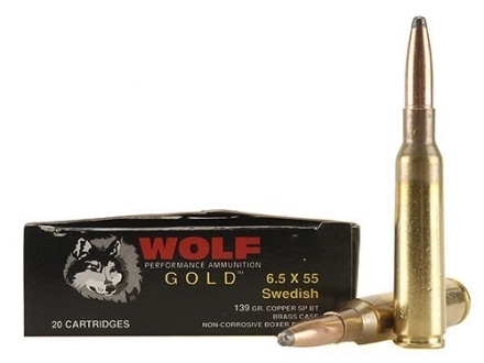 Wolf Gold Ammunition 6.5x55mm Swedish Mauser 139 Grain Soft Point Box of 20