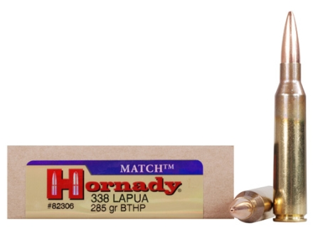 Hornady Custom Ammunition 338 Lapua Magnum 285 Grain Hollow Point Boat Tail Match Box of 20
