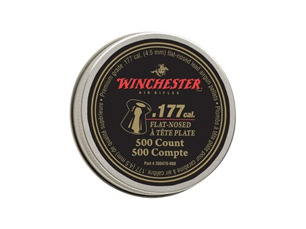 Winchester Airgun Pellets 177 Caliber 9.7 Grain Flat Point Pellets Tin of 500