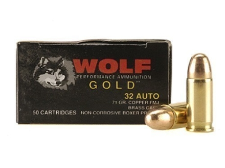 Wolf Gold Ammunition 32 ACP 71 Grain Full Metal Jacket Box of 50