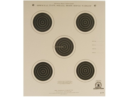 NRA Official Smallbore Rifle Target A-7/5 75' 4 Postion Paper Package of 100